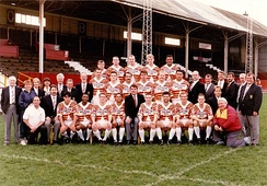 The 3rd Division title winning squad in front of the main stand at Fartown