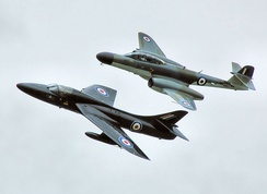Gloster Meteor NF11 flies with Hunter Flight Academy's Hawker Hunter T7A G-FFOX at Kemble Air Show 2009