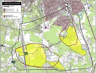 Map of Jerusalem Plank Road Battlefield core and study areas by the American Battlefield Protection Program.