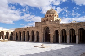 The Great Mosque of Kairouan, erected in 670 by the Arab general Uqba Ibn Nafi, is the oldest mosque in North Africa.[20] Kairouan, Tunisia.
