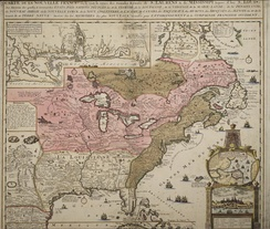 Lower Louisiana in the white area - the pink represents Canada - part of Canada below the great lakes was ceded to Louisiana in 1717. Brown represents British colonies (map before 1736)