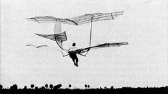 Otto Lilienthal flying his Large Biplane in Lichterfelde (near Berlin) on October 19, 1895