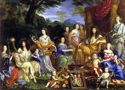 Louis and his family portrayed as Roman gods in a 1670 painting by Jean Nocret. L to R: Louis' aunt, Henriette-Marie; his brother, Philippe, duc d'Orléans; the Duke's daughter, Marie Louise d'Orléans, and wife, Henriette-Anne Stuart; the Queen-mother, Anne of Austria; three daughters of Gaston d'Orléans; Louis XIV; the Dauphin Louis; Queen Marie-Thérèse; la Grande Mademoiselle.