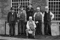 Withnell Fold mill workers c1875: Joseph Blackburn, Peter Brindle, Thomas Blinkhorn Parke, Richard Cranshaw (seated), John Eccles, John Hilston