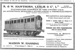 Electric battery locomotives in advertisement