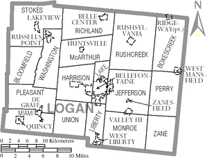 Map of Logan County with municipalities and townships