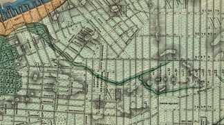 Sanitary & Topographical Map of the City and Island of New York (1865) by Egbert Ludovicus Viele shows the path of Minetta Creek with the then-current street grid superimposed.