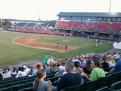 A 2011 Double-A game between the Montgomery Biscuits and Carolina Mudcats