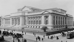 The New York Public Library main building during late stage construction in 1908, the lion statues not yet installed at the entrance