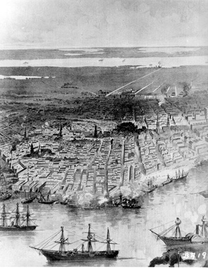 Panoramic view of New Orleans, with Federal fleet at anchor in the river, ca. 1862.