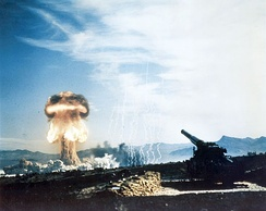 Artillery ammunition can also make use of nuclear warheads, as seen in this 1953 nuclear test.