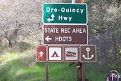 The junction of SR 162 and the Oroville-Quincy Highway near Lake Oroville SRA Headquarters