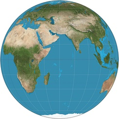 Orthographic projection (equatorial aspect) of eastern hemisphere 30°W–150°E
