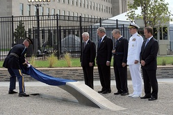 The first inscribed memorial unit unveiled at the dedication ceremony on September 11, 2008
