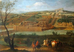 A 1722 painting of the Machine de Marly on the Seine, with the Louveciennes Aqueduct on the top of the hill