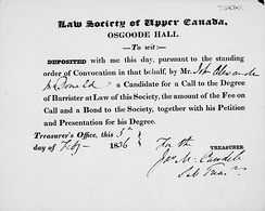 Receipt dated February 5, 1836 for application to the Law Society of Upper Canada issued to John A. Macdonald, the future first Prime Minister of Canada