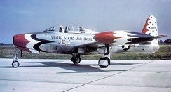 Republic F-84G Thunderjet 51-16719, flown by the Thunderbirds in 1954.