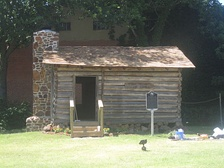 The historic Strode-Pritchett Cabin was located to Crockett for the 1976 bicentennial. At the site is a painting of Davy Crockett by the artist Lucas Short.