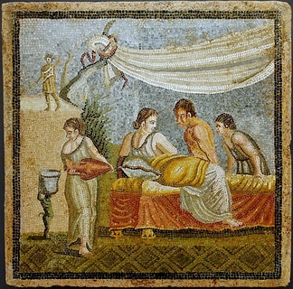 Romantic scene from a mosaic (Villa at Centocelle, Rome, 20 BC–20 AD)