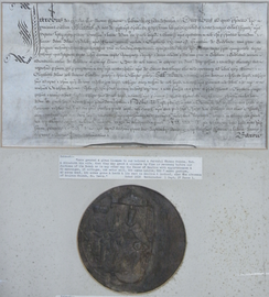 Royal licence to alienate the manor of Dolton granted in 1619 by King James I to Sir Thomas Monck (died 1627) of Potheridge, Devon, and his wife Elizabeth. Great Seal of King James I appended. Displayed in Dolton Church