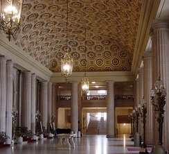 The lobby of the War Memorial Opera House, one of the last buildings erected in Beaux Arts style in the United States