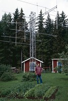 Amateur Radio antenna array used for Earth–Moon–Earth communication on 144 MHz. Location Kilafors in Middle Sweden. Owner Sverker Hedberg, SM3PWM.