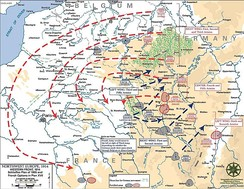 """Western Front 1914; Schlieffen Plan of 1905. French Plan XVII"" (USMA) ""...a mishmash...."" and ""An armchair strategist's dream...."", according to Terence Zuber (2011)[64][65][66]"