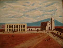 """Tucumán 1812"", by Gerardo Flores Ivaldi. The Cabildo and San Francisco church are displayed on the painting."