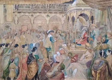 The Coronation Durbar with over 100 characters depicted in attendance