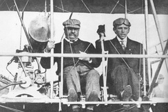 Theodore Roosevelt and pilot Arch Hoxsey before their flight from St. Louis in October 1910
