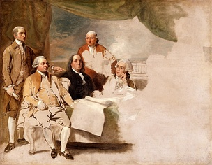 The United States delegation at the 1783 Treaty of Paris included John Jay, John Adams, Benjamin Franklin, Henry Laurens, and William Temple Franklin. Here they are depicted by Benjamin West in his American Commissioners of the Preliminary Peace Agreement with Great Britain.  The British delegation refused to pose, and the painting was never completed.