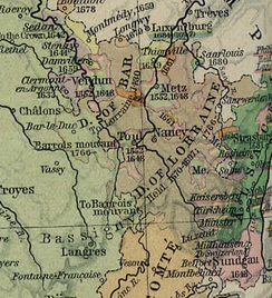 The Three Bishoprics of Metz, Toul and Verdun (outlined in pink), surrounded by the Duchies of Bar and Lorraine