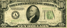1934 A Federal Reserve $10 Note