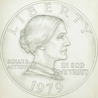 A drawing of one side of a coin, depicting the profile of a woman