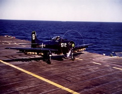 An AD-4 Skyraider taking off from USS Princeton during the Korean War