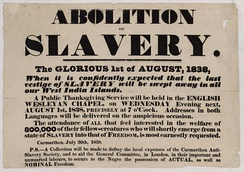 A poster advertising a special chapel service to celebrate the Abolition of Slavery in 1838