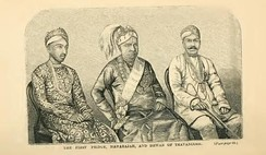 Ayilyam Thirunal of Travancore (centre) with the first prince (left) and Dewan Sit T. Madhava Rao (right)