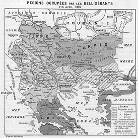 Territorial changes as a result of the First Balkan war, as of April 1913 showing the prewar agreed line of expansion between Serbia and Bulgaria