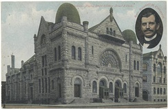 Postcard depicting the original Baptist Temple and Russell Conwell