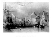 View of Faneuil Hall from the harbor, early 19th century