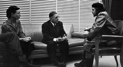 Jean-Paul Sartre (middle) and Simone de Beauvoir (left) meeting with Che Guevara (right) in Cuba, 1960