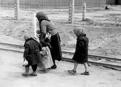 Hungarian woman and children arrive at Auschwitz-Birkenau, May or June 1944 (photo from the Auschwitz Album)