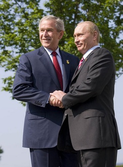 U.S. President George W. Bush and Russian President Vladimir Putin at the 33rd G8 summit, June 2007. The end of the Cold War allowed new co-operation between Russia and the West, but tensions remained.