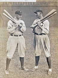 Ty Cobb (left) and Shoeless Joe Jackson are first and third, respectively, in MLB career batting average.