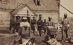 Escaped slaves, ca. 1862, at the headquarters of General Lafayette