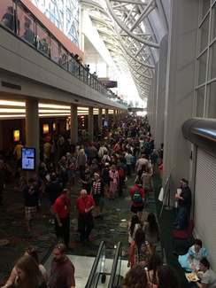 Crowds in the Salt Palace Convention Center at the 2015 Salt Lake Comic Con in Salt Lake City