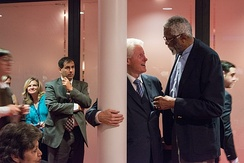 Former President Bill Clinton and Russell at the Civil Rights Summit at the LBJ Presidential Library in 2014