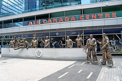 In September 2014, a group of life-sized statues were installed at the southwest corner of the arena.