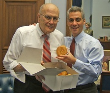 Dingell and Rahm Emanuel with pączki in 2006