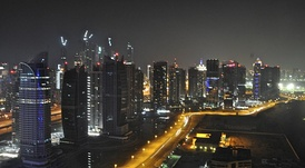 The Jumeirah Lake Towers at night